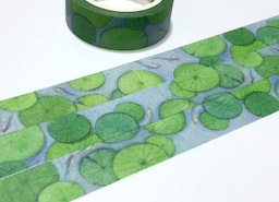 water lily leave washi tape 7M little gold fish lily leaf fish pond masking tape water pool green leaf summer leaf deco masking tape