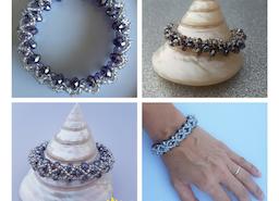 Mauve jewelry, Mauve crystal beaded bracelet, Smoky Mauve, Silver bracelet, Lavender bracelet, purple bracelet, Handmade jewelry, Gift for her, Gift for wife