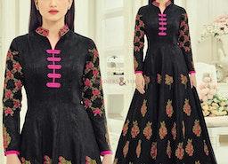 Pleasing Black Art Silk Embroidered Designer Anarkali Suit Design