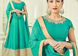Graceful Green Art Silk Embroidered Anarkali Suit Design USA