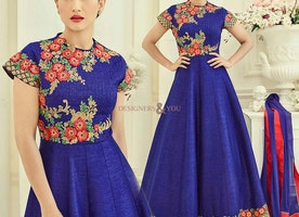 Ineffable Blue Art Silk Embroidered Anarkali Gown UK Style