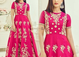 Ravishing Pink Art Silk Embroidered Anarkali Style Outfit For Girls