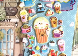 coffee time cafe animal sticker cute animal party food puffy sticker happy gathering tea time cake time eating theme decor kids little gift