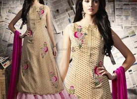 Appealing Beige Georgette Indo Western Suit For Fashionables