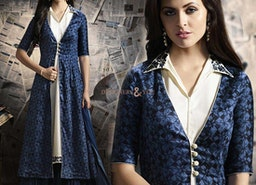 Beguiling Blue And Off White Satin Indo Western Dress For Fashionables