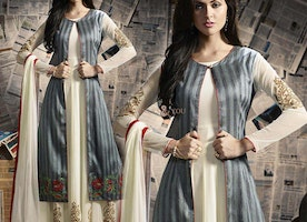 Good Looking Grey And Off White Georgette Designer Suit For Ladies