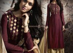 Bewitching Maroon Art Silk Designer Dress For Ladies