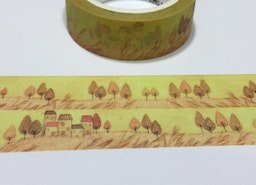 Autumn village washi tape 7M yellow yellow scenery countryside Landscape sticker tape golden scene Fall forest Yellow Leaves Fall colors