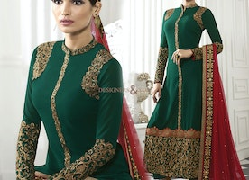 Irresistible Green Georgette Embroidered Paki Style Suit For Women