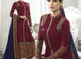 Artistic Maroon Georgette Embroidered Aline Dress For Party