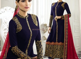 Exquisite Blue Georgette Embroidered Aline Suit For Party