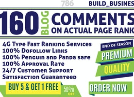 I will do manually 160 blog comments on actual page rank pr 2 to 7