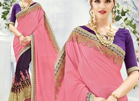 Appealing Peach And Purple Embroidered Georgette Half Saree Blouse