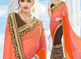 Beguiling Orange And Brown Embroidered Georgette Half Sari Design