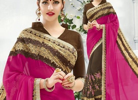 Good Looking Pink And Brown Embroidered Georgette Half And Half Saree Design