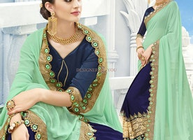 Pleasing Sea Green And Blue Embroidered Georgette Half And Half Sari