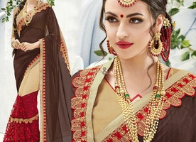 Graceful Brown And Cream Embroidered Georgette Half Sari Online
