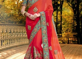 UNIQUE ORANGE AND RED BEADS WORK DESIGNER CONTEMPORARY STYLE SAREE