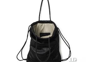 Black leather tote - leather backpack - multi-way leather bag SALE laptop bag - leather handbag drawstring backpack rucksack leather purse