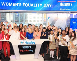 Maloney Rings Nasdaq Opening Bell in honor of Women's Equality Day
