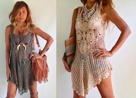 Crochet Tunic Dress Boho Dress/ hippie dress Colors Olive Green, Light Tan, Blush, Gold, Brown