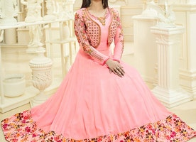 Exceptional Georgette Peach Ayesha Takia Gown With Full Sleeves