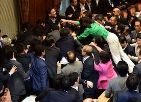 Fight breaks out in Japan's parliament