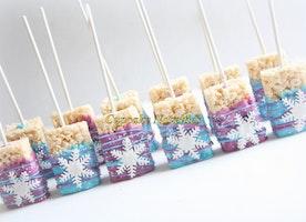 Frozen Birthday Frozen Chocolate dipped Rice Krispie Treats Frozen Cookie Winter Snowflake Rice Krispie Winter Wonderland Frozen Party Favor
