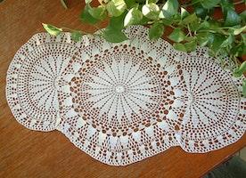 Crochet doily\Large crochet doily,crochet tablecloth/Filet ecru elegant crochet table runner / oval shape crochet doily free shipping