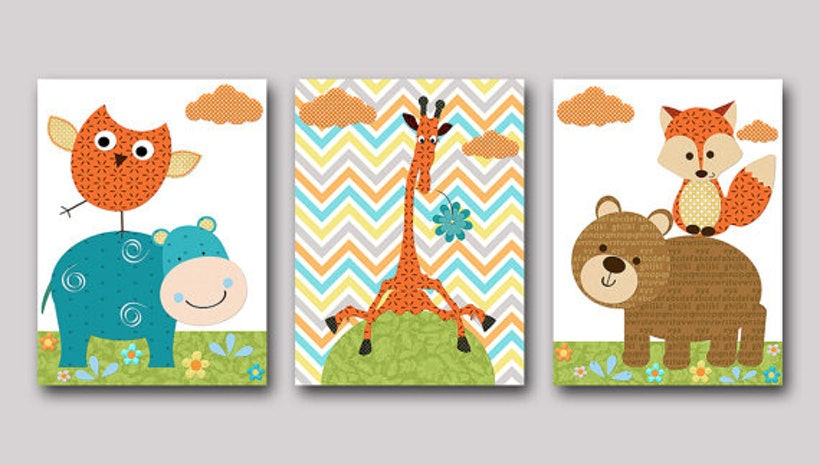 Fox nursery giraffe nursery owl nursery baby boy nursery for Chambre 8x10