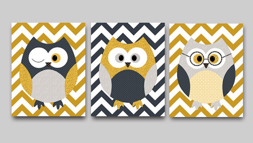 Baby Boy Nursery Wall Art Kids Wall Decor Kids Art Owl Wall Decor ...