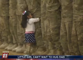 Little Girl Can't Wait to Hug Her Dad Upon His Return Home