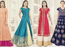 Motivational Blue-Peach Bollywood Heroin Jennifer Widgets' Ethnic Wear
