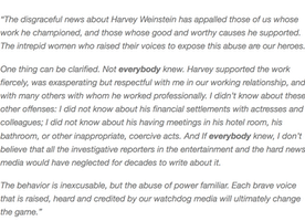 Have you read Meryl Streep's response about the Harvey Weinstein controversy?