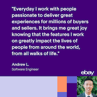 At eBay, you work can impact the lives of entrepreneurs all around the world. Interested in joining Andrew's team? Explore opportunities ⇨ https://goo.gl/FU8UrD