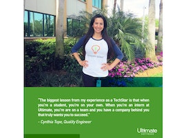 From intern to Quality Engineer III, Cynthia has had an amazing career at Ultimate!