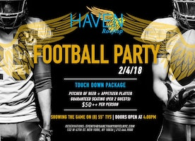 Super Bowl Parties at Haven Rooftop & Tender in NYC