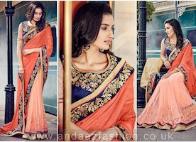 Peach Chiffon And Net Saree With Dupion Blouse