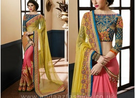 Pink With Yellow Georgette And Net Saree With Art Silk Blouse Online