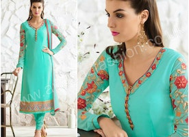 Sea Green Georgette Churidar Suit With Patch Embroidered Dupatta Online.