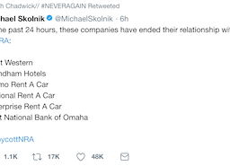 Did you all see which companies are cutting off ties with the NRA? #NEVERAGAIN
