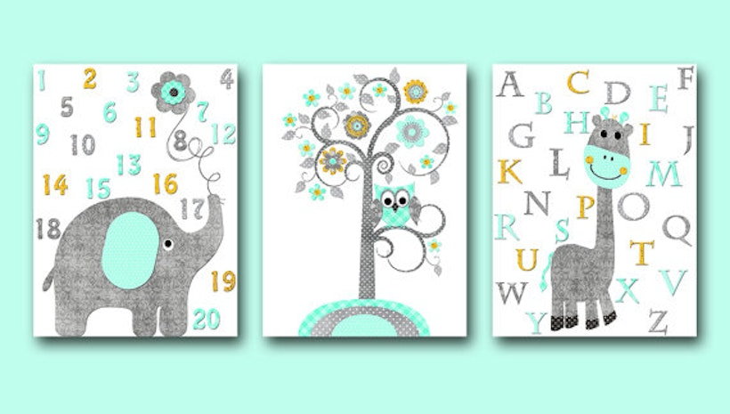 Alphabet Wall Decor Kids Wall Decor Kids Art Girl Baby Boy