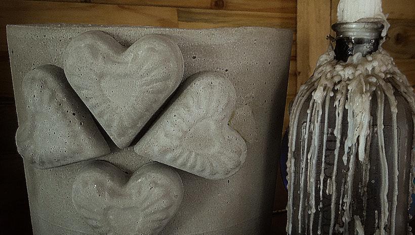 Concrete Heart Planter Modern Planter