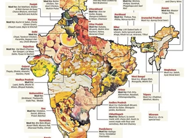 Indian Food: How many distinct culinary regions are there in India, and how do they map geographically?