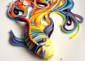 Swirling Colorful Drawings Are Created With An Old Paper Rolling Technique