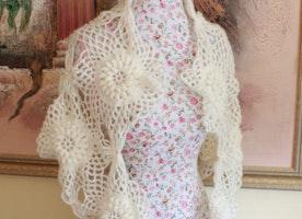 Crochet Ivory Wedding Shawl Scarf /Neck warmer Wrap/ Lace Cover Up Bridal Shawl Lace Shawl Bridal Shrug Wedding Wrap Bridal Accessories