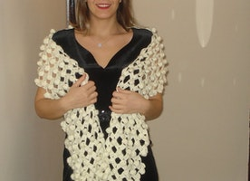 Crochet Ivory Wedding Scarf/Shawl with bobbles Bridal Shawl Lace Shawl Bridal Shrug Wedding Bolero Wrap Bridal Accessories // Ready to ship