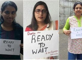 What is the #ReadytoWait vs #ReadytoPray battle between women about?
