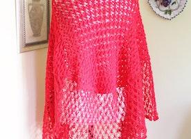 Hot RED Hand knit Crochet, Triangle Shawl Cape Wedding Bridal Shrug Shawl Bolero Women Winter Accessories, Ready to be shipped TODAY