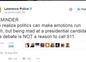 'Being mad at a presidential candidate is NOT a reason to call 911': police